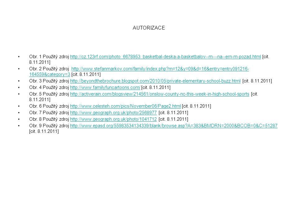 AUTORIZACE Obr. 1 Použitý zdroj http://cz.123rf.com/photo_6678953_basketbal-deska-a-basketbalov--m---na--ern-m-pozad.html [cit. 8.11.2011]